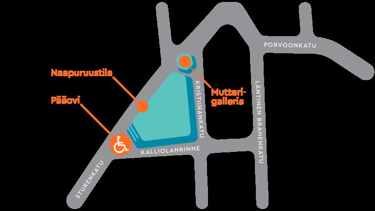 Setlementtitalon pääovi sijaitsee Sturenkadun ja Kalliolanrinteen risteyksessä